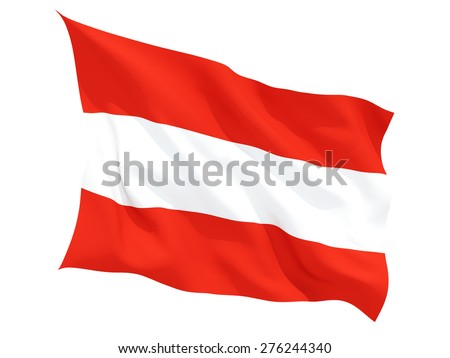 Waving flag of austria isolated on white - stock photo