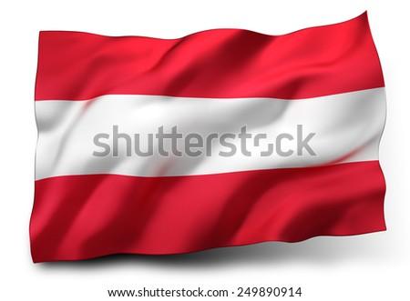 Waving flag of Austria isolated on white background - stock photo
