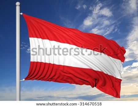 Waving flag of Austria on flagpole, on blue sky background. - stock photo