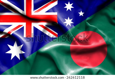 Waving flag of Bangladesh and Australia - stock photo