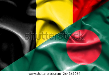 Waving flag of Bangladesh and Belgium  - stock photo
