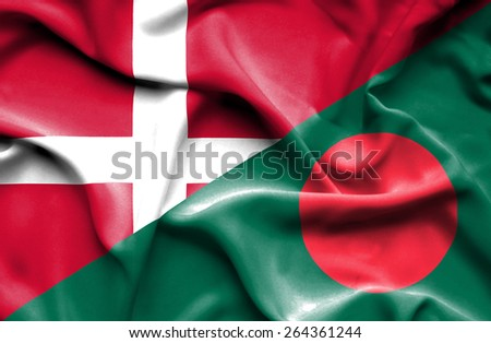 Waving flag of Bangladesh and Denmark  - stock photo
