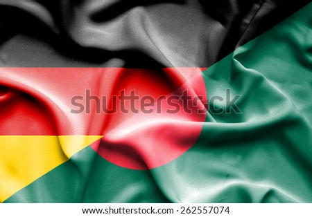 Waving flag of Bangladesh and Germany - stock photo
