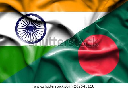Waving flag of Bangladesh and India - stock photo