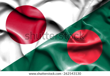 Waving flag of Bangladesh and Japan - stock photo