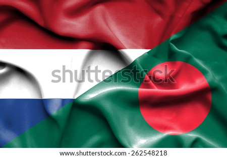 Waving flag of Bangladesh and Netherlands - stock photo