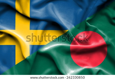 Waving flag of Bangladesh and Sweden - stock photo