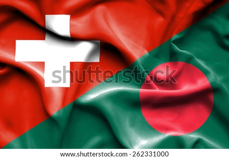 Waving flag of Bangladesh and Switzerland - stock photo