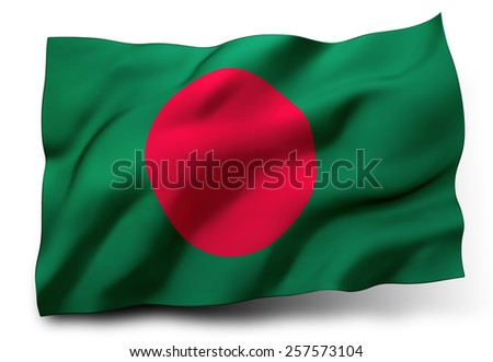 Waving flag of Bangladesh isolated on white background - stock photo