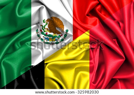 Waving flag of Belgium and Mexico
