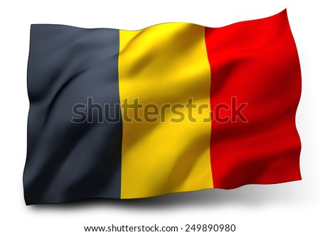 Waving flag of Belgium isolated on white background - stock photo