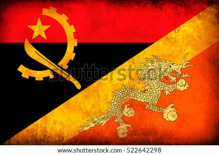 Waving flag of Bhutan and Angola