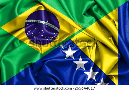 Waving flag of Bosnia and Herzegovina and Brazil