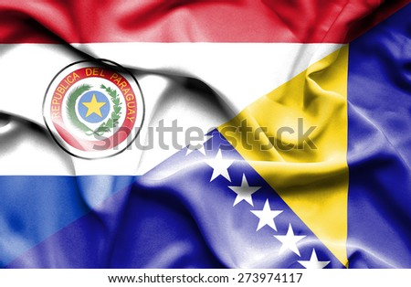 Waving flag of Bosnia and Herzegovina and Paraguay
