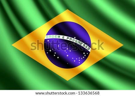 Waving flag of Brazil - stock photo