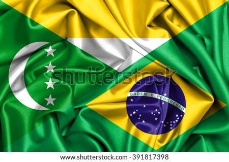 Waving flag of Brazil and Comorian