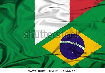 Waving flag of Brazil and Italy - stock photo
