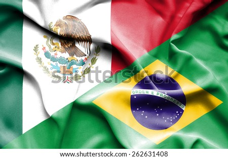 Waving flag of Brazil and Mexico - stock photo