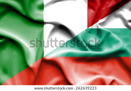 Waving flag of Bulgaria and Italy