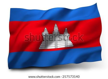 Waving flag of Cambodia isolated on white background - stock photo