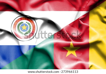 Waving flag of Cameroon and Paraguay