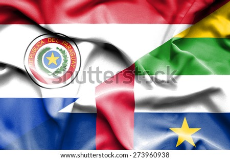 Waving flag of Central African Republic and Paraguay