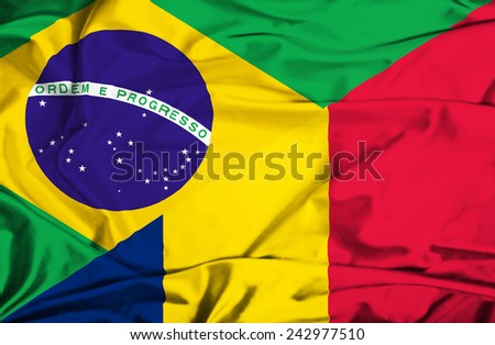 Waving flag of Chad and Brazil