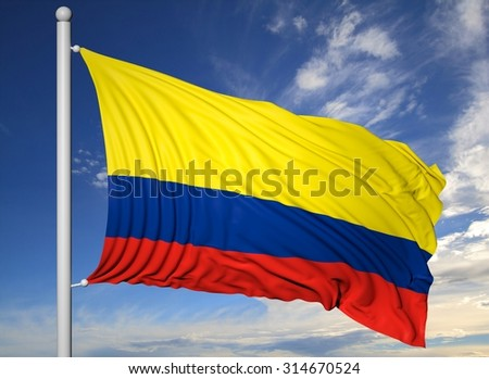 Waving flag of Colombia on flagpole, on blue sky background.