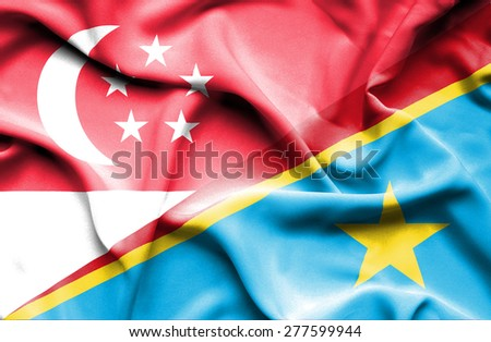 Waving flag of Congo Democratic Republic and Singapore