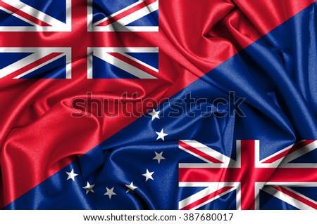Waving flag of Cook Islands and Bermuda