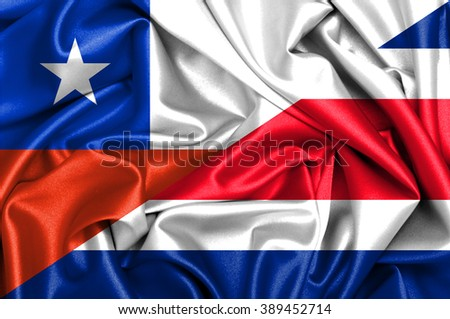 Waving flag of Costa Rica and Chile