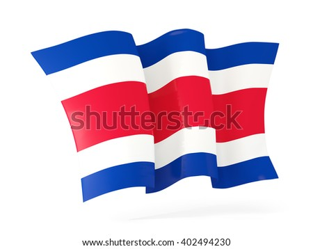Waving flag of costa rica isolated on white. 3D illustration - stock photo