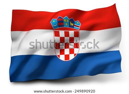 Waving flag of Croatia isolated on white background - stock photo
