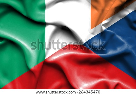 Waving flag of Czech Republic and Ireland