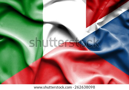 Waving flag of Czech Republic and Italy