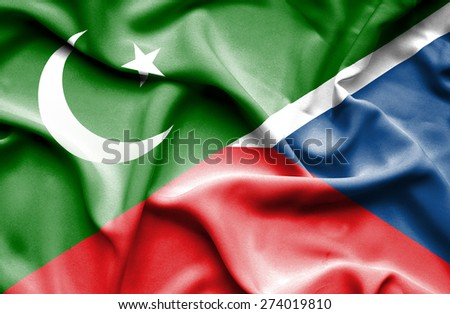 Waving flag of Czech Republic and Pakistan
