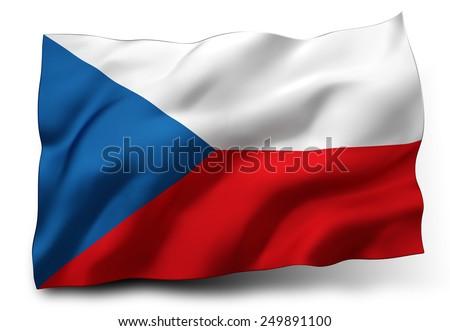 Waving flag of Czech Republic isolated on white background - stock photo