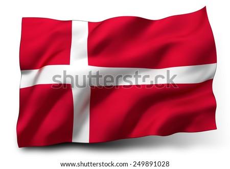 Waving flag of Denmark isolated on white background - stock photo