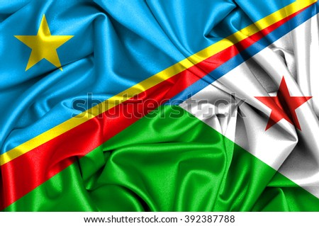 Waving flag of Djibouti and Congo Democratic Republic