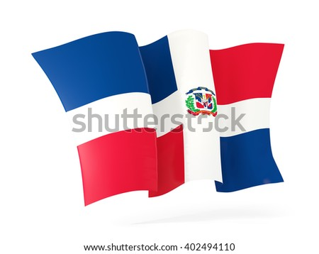Waving flag of dominican republic isolated on white. 3D illustration - stock photo