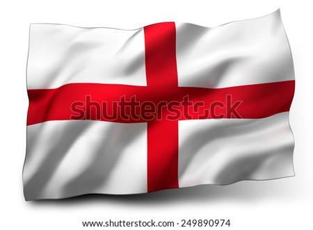 Waving flag of England isolated on white background - stock photo