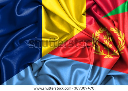 Waving flag of Eritrea and Chad
