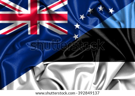 Waving flag of Estonia and Cook Islands