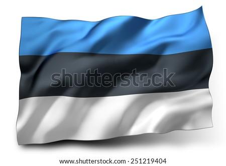 Waving flag of Estonia isolated on white background - stock photo