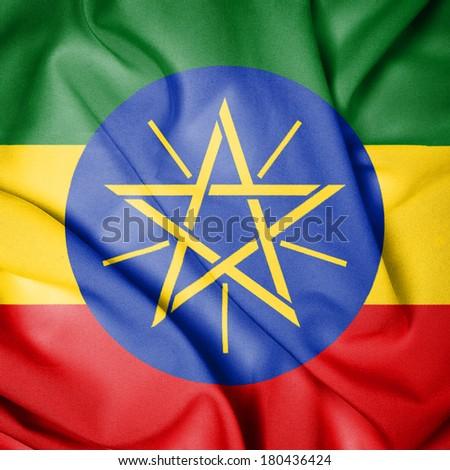 Waving Flag of Ethiopia - stock photo