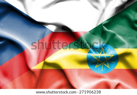 Waving flag of Ethiopia and Czech Republic - stock photo