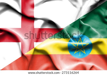 Waving flag of Ethiopia and England - stock photo