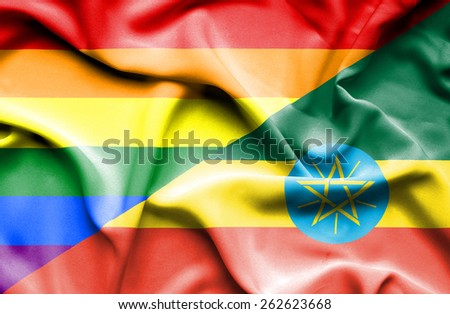 Waving flag of Ethiopia and LGBT - stock photo
