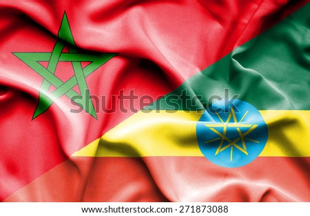 Waving flag of Ethiopia and Morocco - stock photo