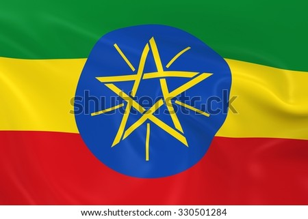 Waving Flag of Ethiopia - 3D Render of the Ethiopian Flag with Silky Texture